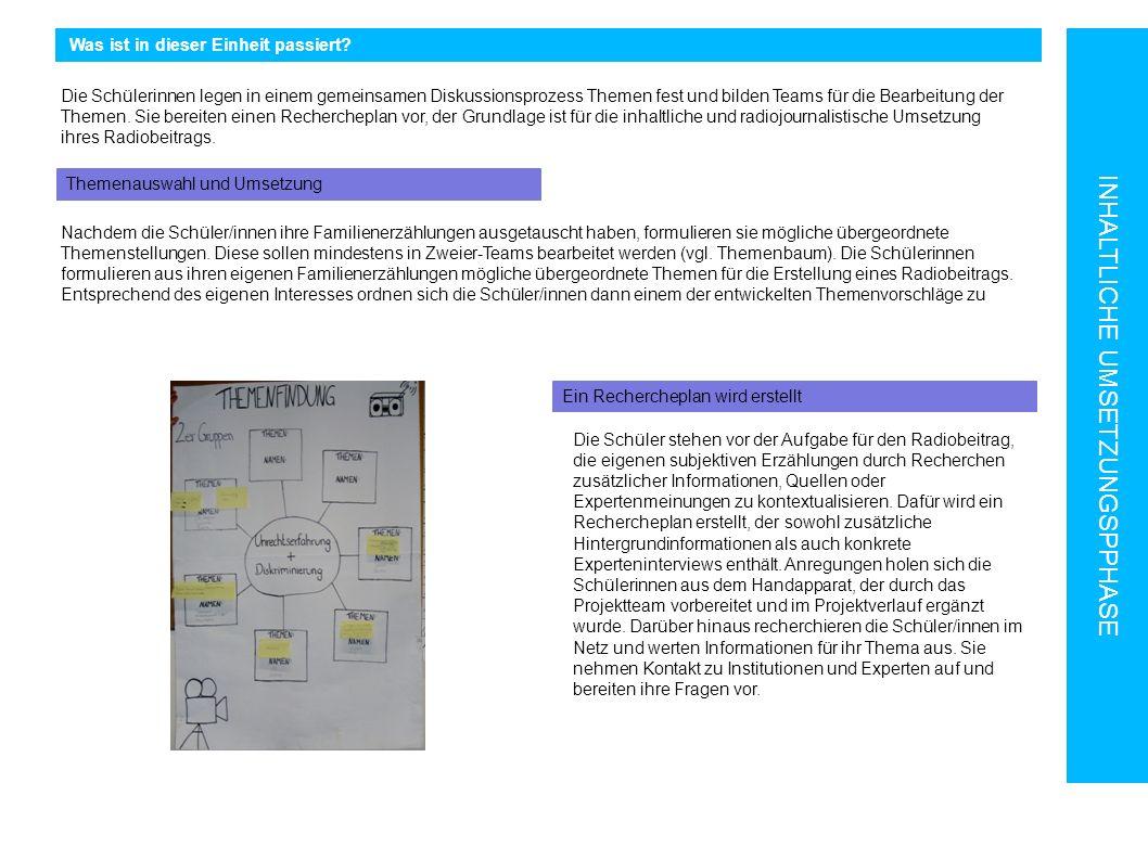 Was ist in dieser Einheit passiert? INHALTLICHE UMSETZUNGSPPHASE Themenauswahl und Umsetzung Ein Rechercheplan wird erstellt Die Schüler stehen vor de