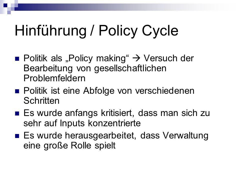 Hinführung / Policy Cycle Politik als Policy making Versuch der Bearbeitung von gesellschaftlichen Problemfeldern Politik ist eine Abfolge von verschi
