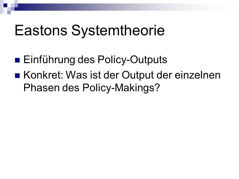 Einführung des Policy-Outputs Konkret: Was ist der Output der einzelnen Phasen des Policy-Makings?