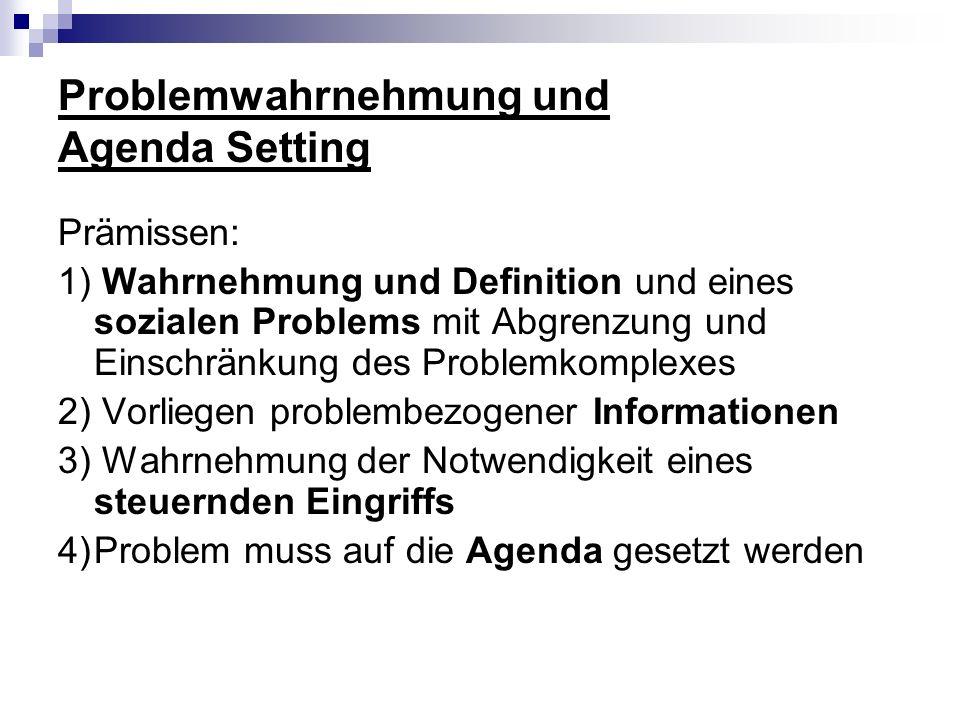 Problemwahrnehmung und Agenda Setting Prämissen: 1) Wahrnehmung und Definition und eines sozialen Problems mit Abgrenzung und Einschränkung des Proble