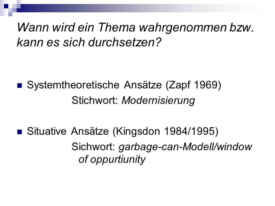 Wann wird ein Thema wahrgenommen bzw. kann es sich durchsetzen? Systemtheoretische Ansätze (Zapf 1969) Stichwort: Modernisierung Situative Ansätze (Ki
