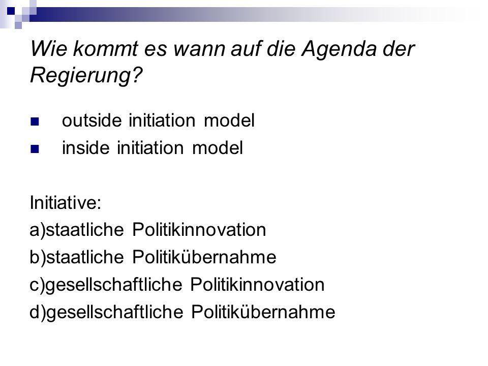 Wie kommt es wann auf die Agenda der Regierung? outside initiation model inside initiation model Initiative: a)staatliche Politikinnovation b)staatlic