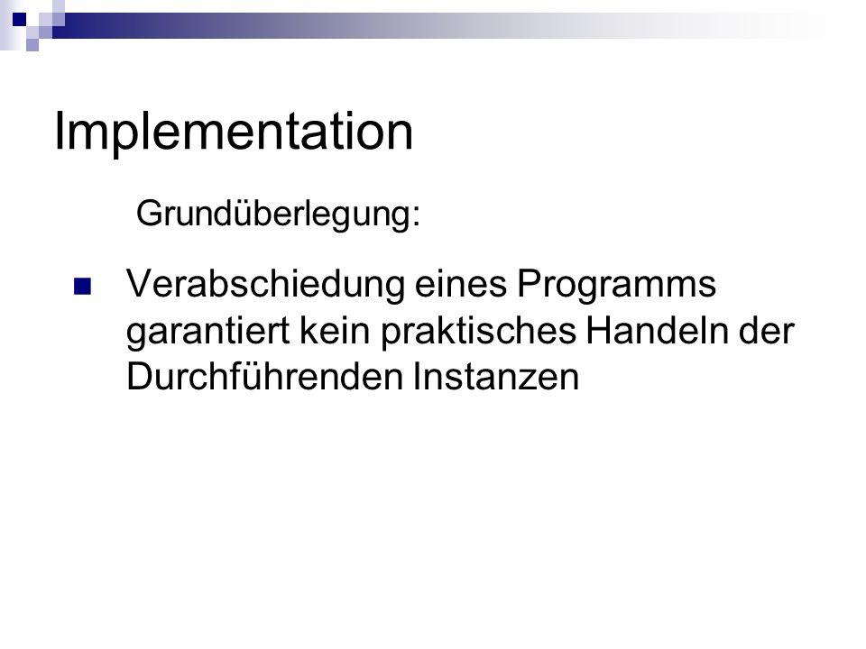 Implementation Grundüberlegung: Verabschiedung eines Programms garantiert kein praktisches Handeln der Durchführenden Instanzen