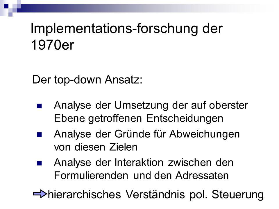 Implementations-forschung der 1970er Der top-down Ansatz: Analyse der Umsetzung der auf oberster Ebene getroffenen Entscheidungen Analyse der Gründe f