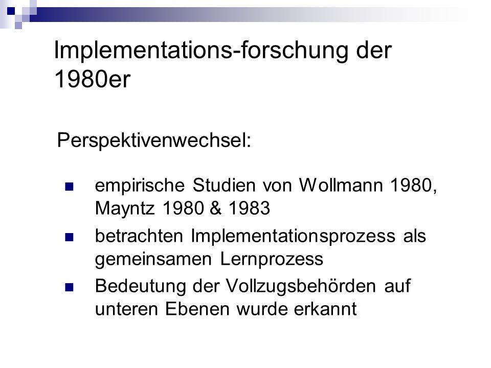 Implementations-forschung der 1980er Perspektivenwechsel: empirische Studien von Wollmann 1980, Mayntz 1980 & 1983 betrachten Implementationsprozess a