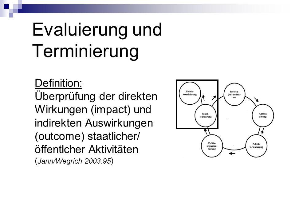 Evaluierung und Terminierung Definition: Überprüfung der direkten Wirkungen (impact) und indirekten Auswirkungen (outcome) staatlicher/ öffentlcher Ak