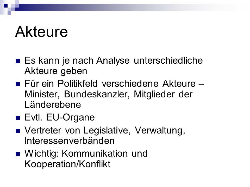 Politikformulierung und Entscheidung Definitionsvorschlag: Prozess, in dem politische Ziele formuliert & alternative Handlungs- möglichkeiten entwickelt und als verbindliche Festlegung gewählt werden (Jann/Wegrich 2003:95)