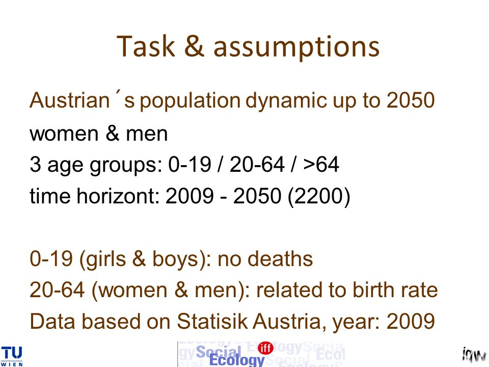 Task & assumptions Austrian´s population dynamic up to 2050 women & men 3 age groups: 0-19 / 20-64 / >64 time horizont: 2009 - 2050 (2200) 0-19 (girls