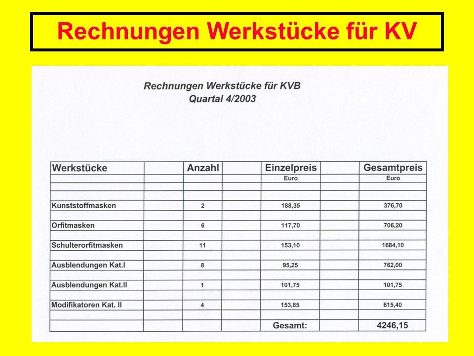 Rechnungen Werkstücke für KV
