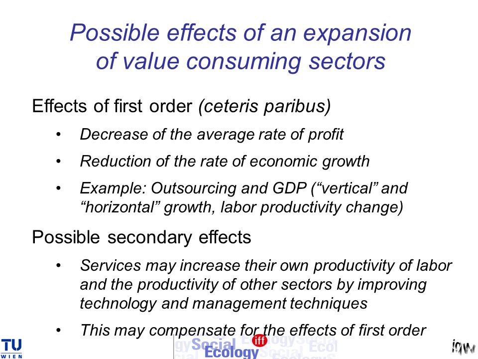 Possible effects of an expansion of value consuming sectors Effects of first order (ceteris paribus) Decrease of the average rate of profit Reduction