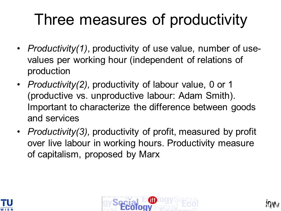 Three measures of productivity Productivity(1), productivity of use value, number of use- values per working hour (independent of relations of product