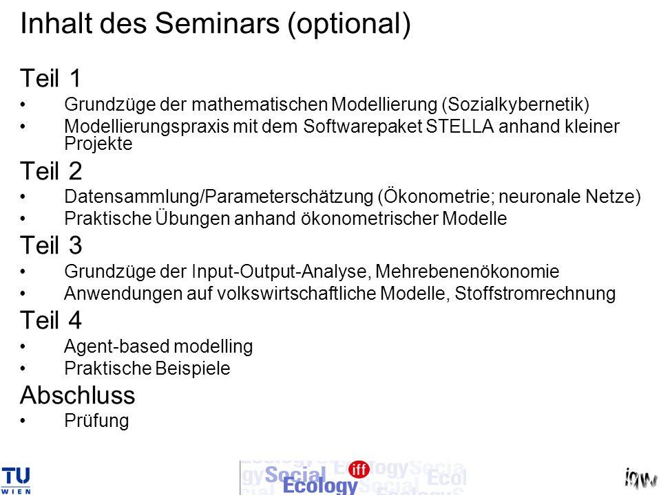 Inhalt des Seminars (optional) Teil 1 Grundzüge der mathematischen Modellierung (Sozialkybernetik) Modellierungspraxis mit dem Softwarepaket STELLA an