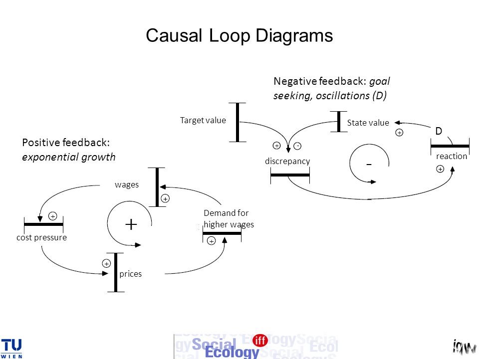 Causal Loop Diagrams Positive feedback: exponential growth Negative feedback: goal seeking, oscillations (D) wages Demand for higher wages prices cost