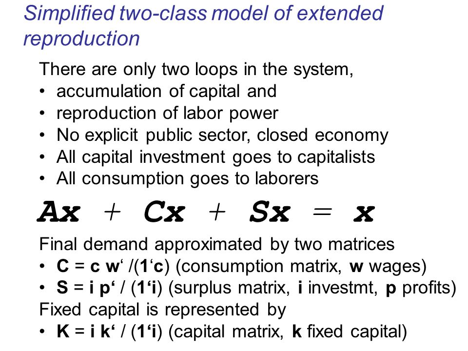 Simplified two-class model of extended reproduction There are only two loops in the system, accumulation of capital and reproduction of labor power No