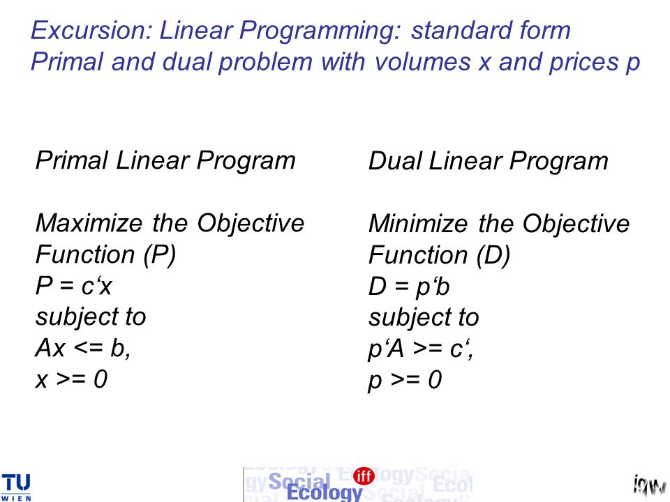 Excursion: Linear Programming: standard form Primal and dual problem with volumes x and prices p Primal Linear Program Maximize the Objective Function