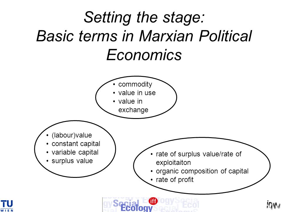 Setting the stage: Basic terms in Marxian Political Economics commodity value in use value in exchange (labour)value constant capital variable capital