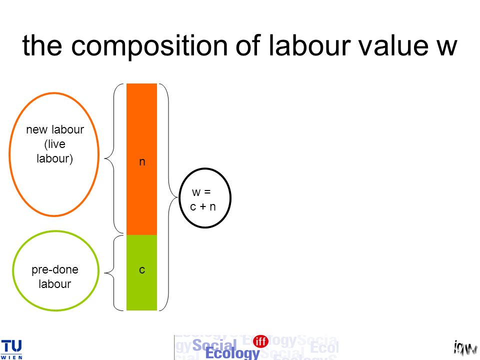 the composition of labour value w n c w = c + n new labour (live labour) pre-done labour