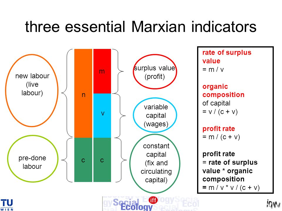 three essential Marxian indicators new labour (live labour) n pre-done labour m c v c constant capital (fix and circulating capital) variable capital