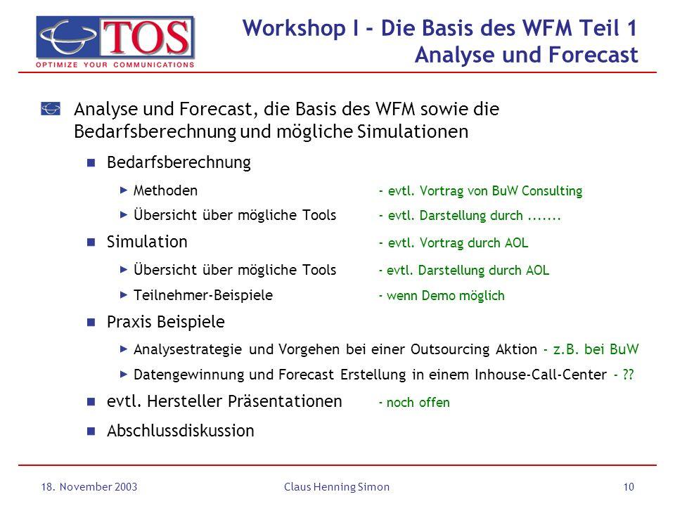 18. November 2003Claus Henning Simon10 Analyse und Forecast, die Basis des WFM sowie die Bedarfsberechnung und mögliche Simulationen Bedarfsberechnung