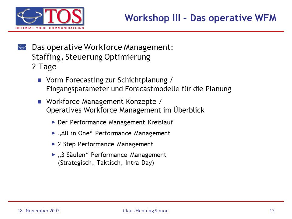 18. November 2003Claus Henning Simon13 Workshop III – Das operative WFM Das operative Workforce Management: Staffing, Steuerung Optimierung 2 Tage Vor