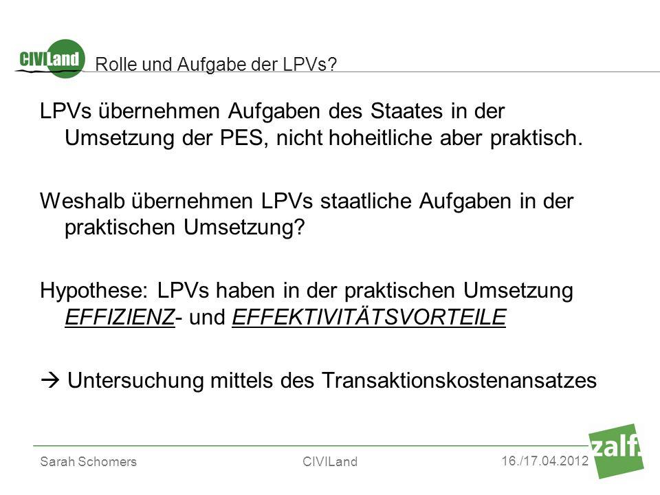 16./17.04.2012 Sarah SchomersCIVILand Rolle und Aufgabe der LPVs? LPVs übernehmen Aufgaben des Staates in der Umsetzung der PES, nicht hoheitliche abe