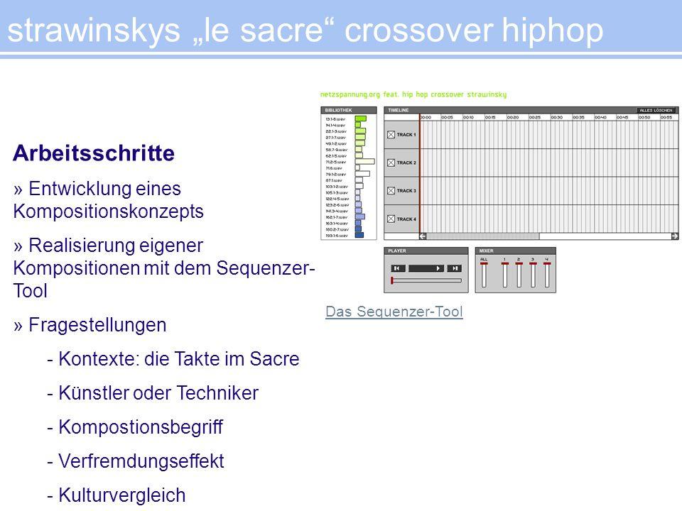 strawinskys le sacre crossover hiphop Arbeitsschritte » Entwicklung eines Kompositionskonzepts » Realisierung eigener Kompositionen mit dem Sequenzer-