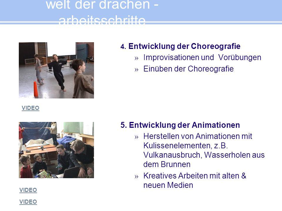 4. Entwicklung der Choreografie » Improvisationen und Vorübungen » Einüben der Choreografie 5. Entwicklung der Animationen » Herstellen von Animatione