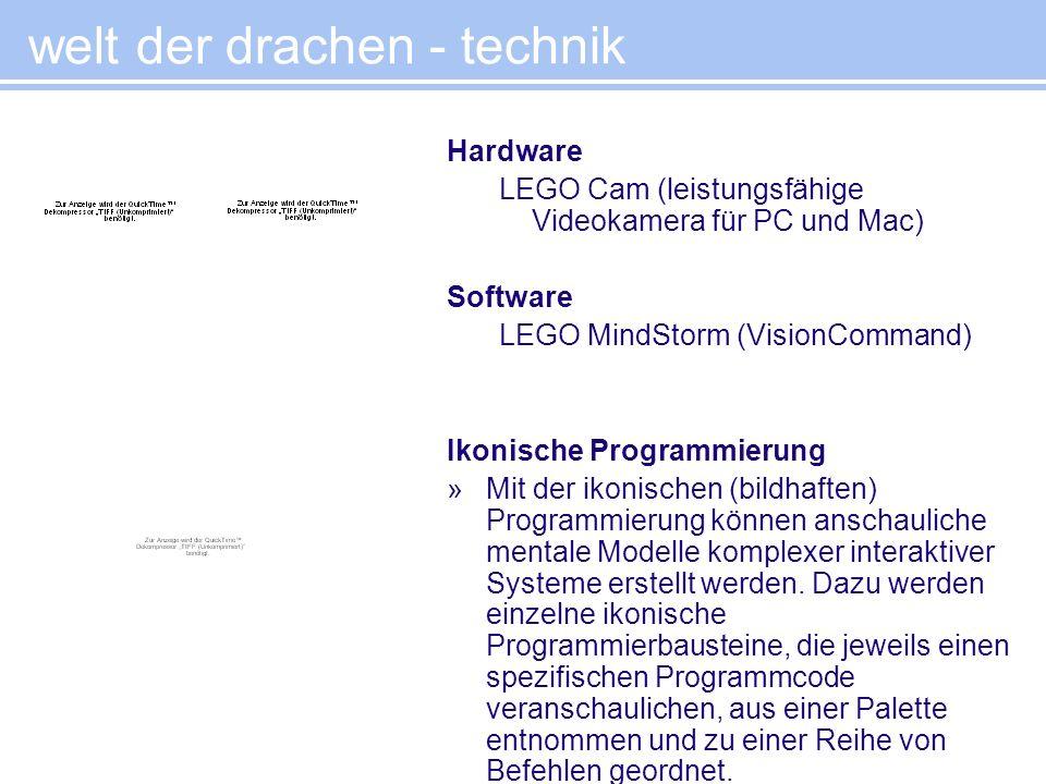 Hardware LEGO Cam (leistungsfähige Videokamera für PC und Mac) Software LEGO MindStorm (VisionCommand) Ikonische Programmierung »Mit der ikonischen (b