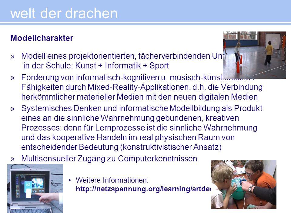 welt der drachen »Modell eines projektorientierten, fächerverbindenden Unterrichts in der Schule: Kunst + Informatik + Sport »Förderung von informatis