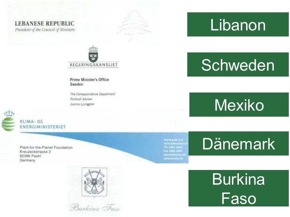 Libanon Schweden Burkina Faso Dänemark Mexiko