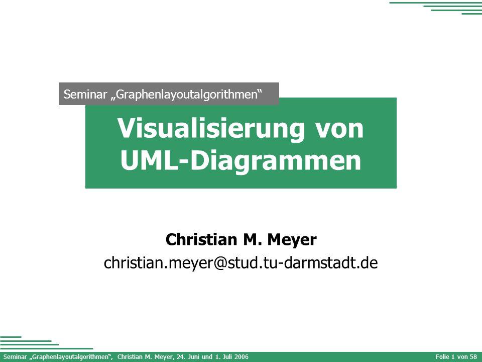 Seminar Graphenlayoutalgorithmen, Christian M. Meyer, 24. Juni und 1. Juli 2006 Seminar Graphenlayoutalgorithmen Folie 1 von 58 Visualisierung von UML