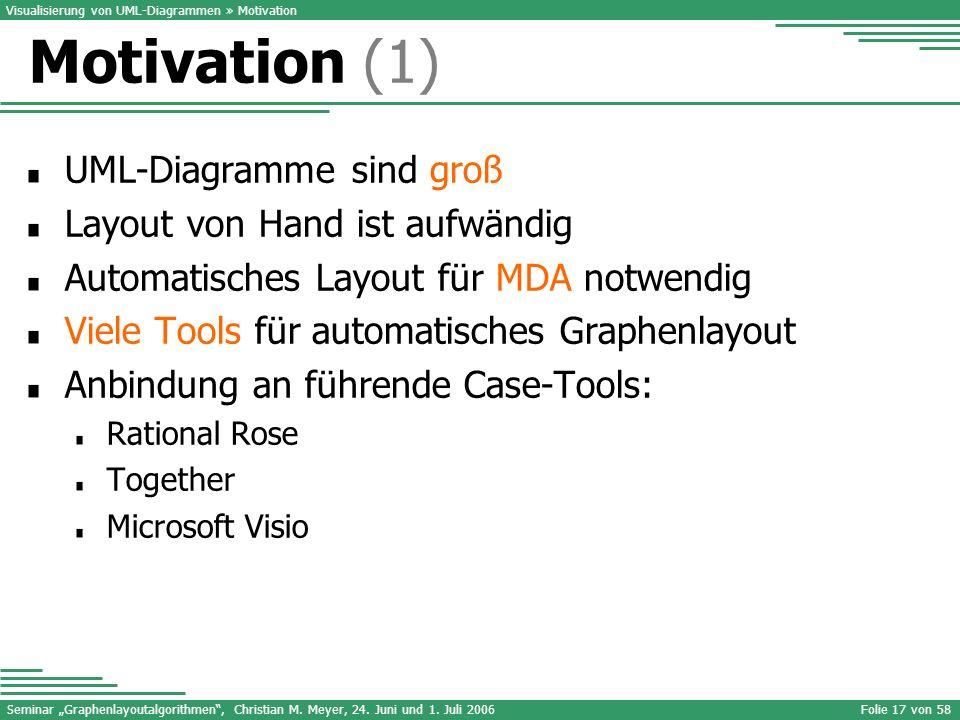 Seminar Graphenlayoutalgorithmen, Christian M. Meyer, 24. Juni und 1. Juli 2006Folie 17 von 58 UML-Diagramme sind groß Layout von Hand ist aufwändig A