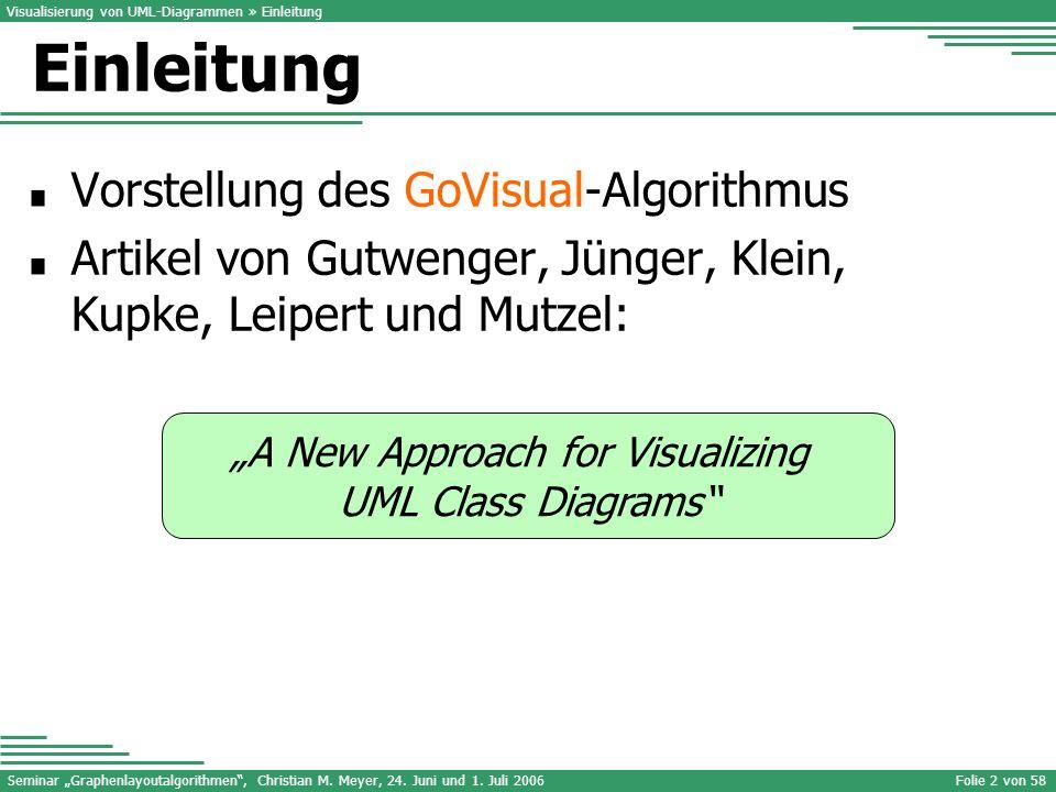 Seminar Graphenlayoutalgorithmen, Christian M. Meyer, 24. Juni und 1. Juli 2006Folie 2 von 58 A New Approach for Visualizing UML Class Diagrams Einlei