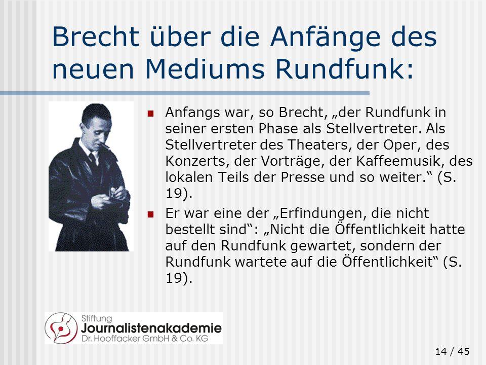 14 / 45 Brecht über die Anfänge des neuen Mediums Rundfunk: Anfangs war, so Brecht, der Rundfunk in seiner ersten Phase als Stellvertreter. Als Stellv