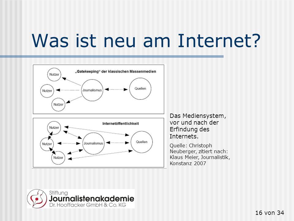 16 von 34 Was ist neu am Internet? Das Mediensystem, vor und nach der Erfindung des Internets. Quelle: Christoph Neuberger, zitiert nach: Klaus Meier,