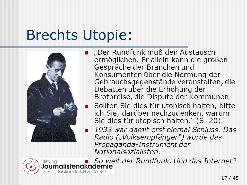 17 / 45 Brechts Utopie: Der Rundfunk muß den Austausch ermöglichen. Er allein kann die großen Gespräche der Branchen und Konsumenten über die Normung