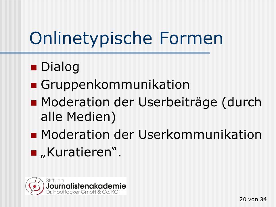 Onlinetypische Formen Dialog Gruppenkommunikation Moderation der Userbeiträge (durch alle Medien) Moderation der Userkommunikation Kuratieren. 20 von