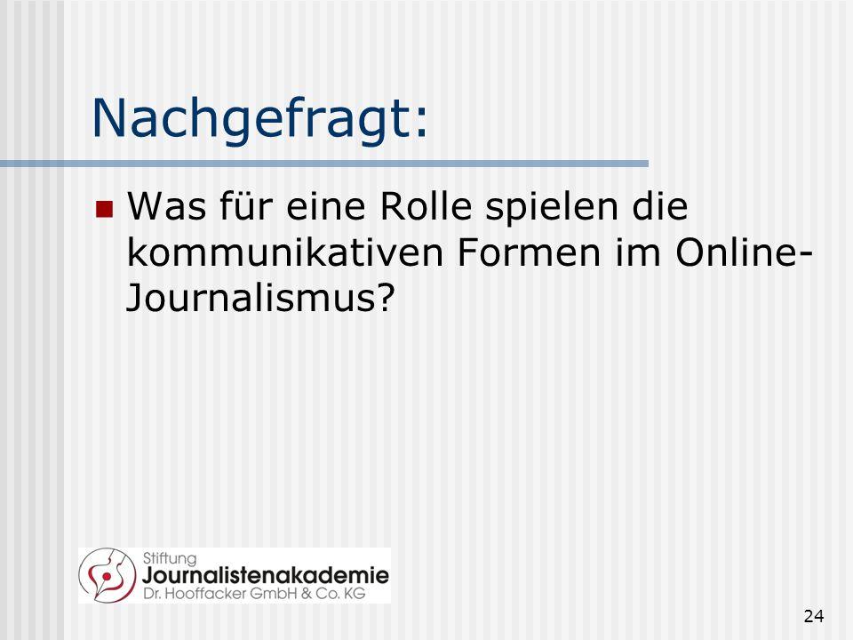 Nachgefragt: Was für eine Rolle spielen die kommunikativen Formen im Online- Journalismus? 24
