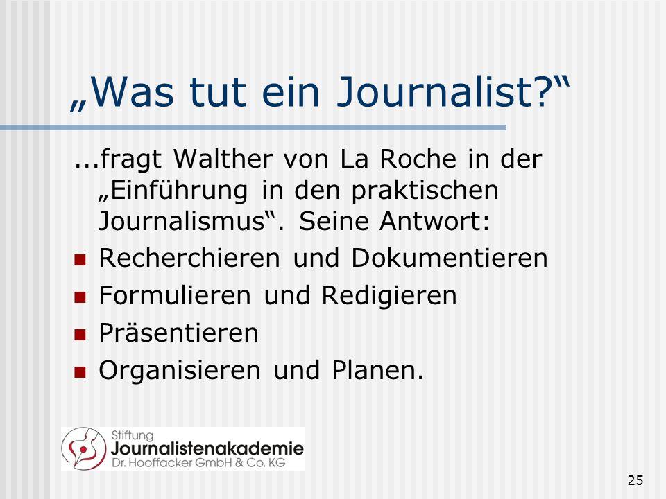 Was tut ein Journalist?...fragt Walther von La Roche in der Einführung in den praktischen Journalismus. Seine Antwort: Recherchieren und Dokumentieren
