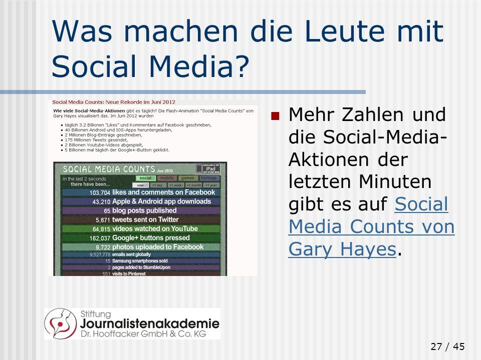 27 / 45 Was machen die Leute mit Social Media? Mehr Zahlen und die Social-Media- Aktionen der letzten Minuten gibt es auf Social Media Counts von Gary