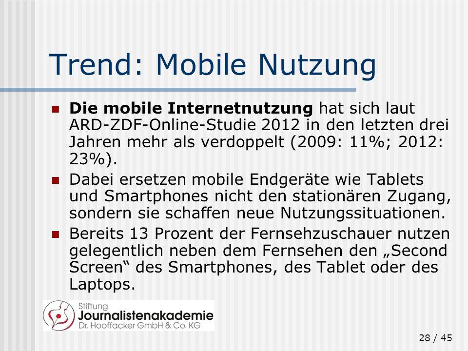 28 / 45 Trend: Mobile Nutzung Die mobile Internetnutzung hat sich laut ARD-ZDF-Online-Studie 2012 in den letzten drei Jahren mehr als verdoppelt (2009