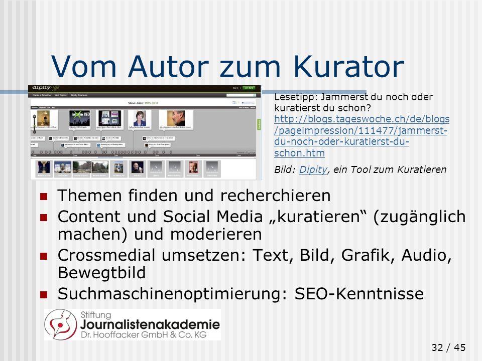 32 / 45 Vom Autor zum Kurator Themen finden und recherchieren Content und Social Media kuratieren (zugänglich machen) und moderieren Crossmedial umset