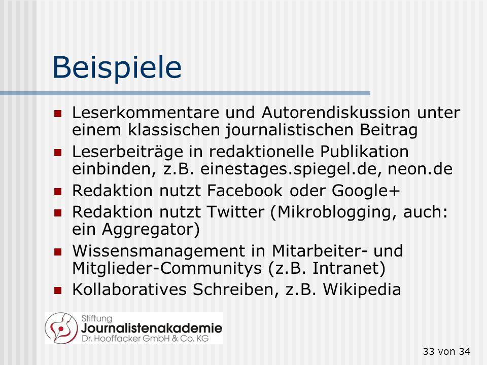 33 von 34 Beispiele Leserkommentare und Autorendiskussion unter einem klassischen journalistischen Beitrag Leserbeiträge in redaktionelle Publikation