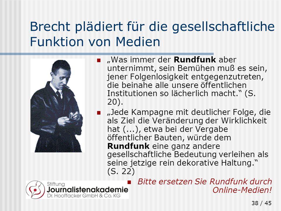 38 / 45 Brecht plädiert für die gesellschaftliche Funktion von Medien Was immer der Rundfunk aber unternimmt, sein Bemühen muß es sein, jener Folgenlo