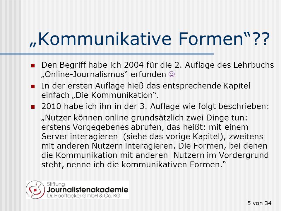 Kommunikative Formen?? Den Begriff habe ich 2004 für die 2. Auflage des Lehrbuchs Online-Journalismus erfunden In der ersten Auflage hieß das entsprec