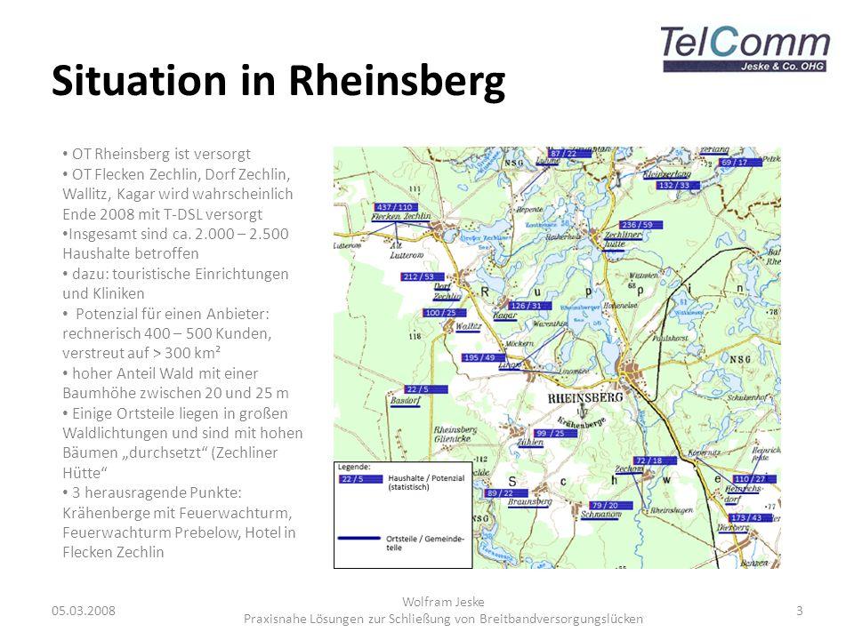 Situation in Rheinsberg 05.03.2008 Wolfram Jeske Praxisnahe Lösungen zur Schließung von Breitbandversorgungslücken 3 OT Rheinsberg ist versorgt OT Fle