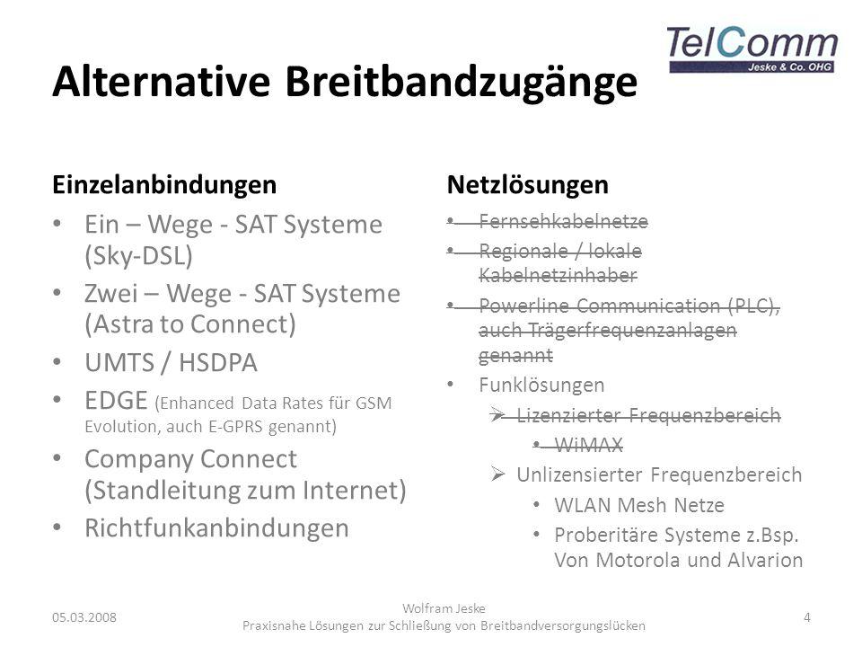 Alternative Breitbandzugänge Einzelanbindungen Ein – Wege - SAT Systeme (Sky-DSL) Zwei – Wege - SAT Systeme (Astra to Connect) UMTS / HSDPA EDGE (Enha