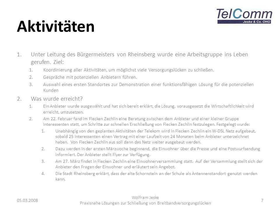 Aktivitäten 1.Unter Leitung des Bürgermeisters von Rheinsberg wurde eine Arbeitsgruppe ins Leben gerufen. Ziel: 1.Koordinierung aller Aktivitäten, um