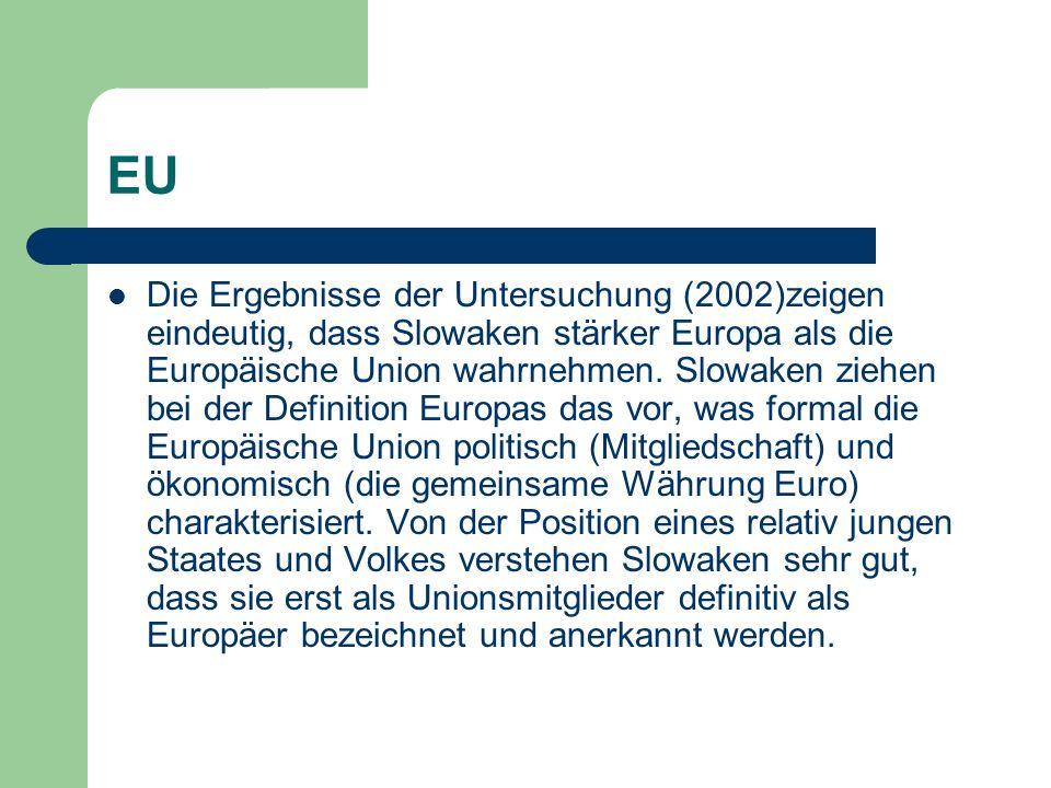 EU Die Ergebnisse der Untersuchung (2002)zeigen eindeutig, dass Slowaken stärker Europa als die Europäische Union wahrnehmen.