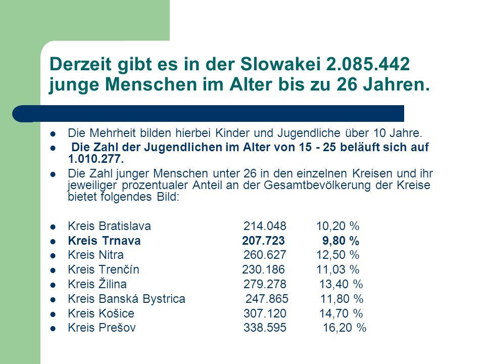 Derzeit gibt es in der Slowakei 2.085.442 junge Menschen im Alter bis zu 26 Jahren.